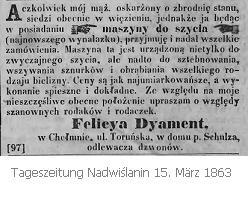 Schneiderin Felicya Dyament in Culm - Zeitungsanzeige aus dem Jahr 1863