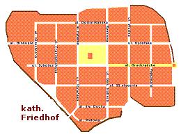 Lage des katholischen Friedhofs in Culm an der Weichsel / Chełmno nad Wisłą