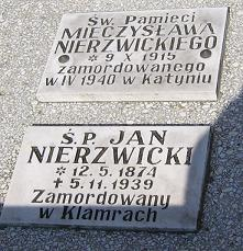 Familiengrab Nierzwicki in Chelmno, Gedenktafeln für Jan und Mieczyslaw Nierzwicki