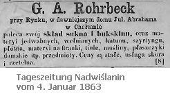 Textilhändler G. A. Rohrbeck am Markt in Culm - Zeitungsanzeige aus dem Jahr 1863