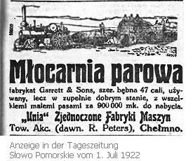 Unia Zjednoczone Fabryki Maszyn Tow. Akc. - Chełmno 1922